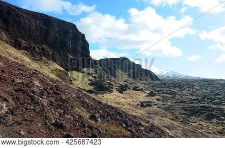Summer Day With A Beautiful Lava Rock Landscape In Iceland.