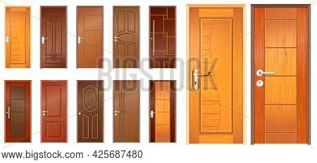 Set Of Realistic Wooden Door Isolated Or Indonesian Traditional Door Style For Home, Office Or Apart