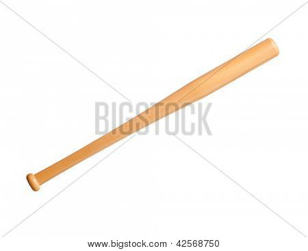 Single baseball bat, isolated on white background