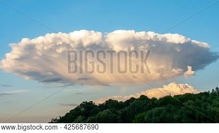 Unusual Sky, Beautiful Cloud In The Form Of A Plate, Background Sky With Clouds.