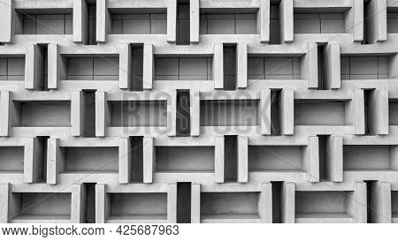 Decorative Wall Made Of Concrete Slabs In Shades Of Gray, Decorative Concrete Wall. Wall Background.