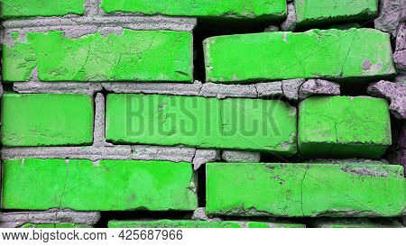 Background - Green Neon Brick Wall, Brick Green Copy Space, Colorful Old Wall.