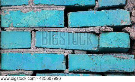 Blue Brick Wall Background, Texture Blue Brick. Copy Space.