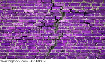Purple Vintage Brick Wall Background. Brick Wall Texture With Cracks. Copy Space Background.