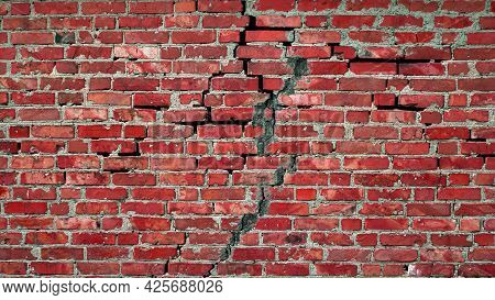 Red Brick Wall Vintage. Cracked Wall Texture. Destroyed Brick Wall With Cracks. Copy Space Backgroun