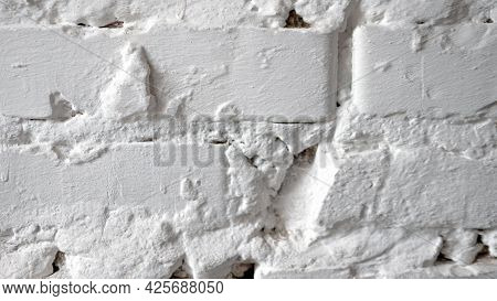 Texture Of An Old White Brick Wall. White Vintage Wall Background. Copy Space.