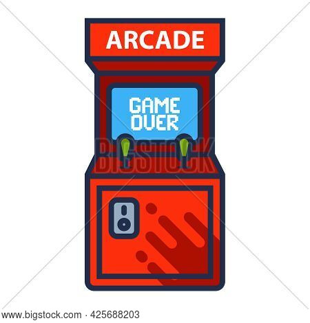 Arcade Machine Icon With Game Over Screen. Flat Vector Illustration.