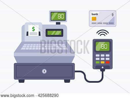 Payment In The Store Using A Bank Card. Contactless Payment Through A Cash Register In A Supermarket