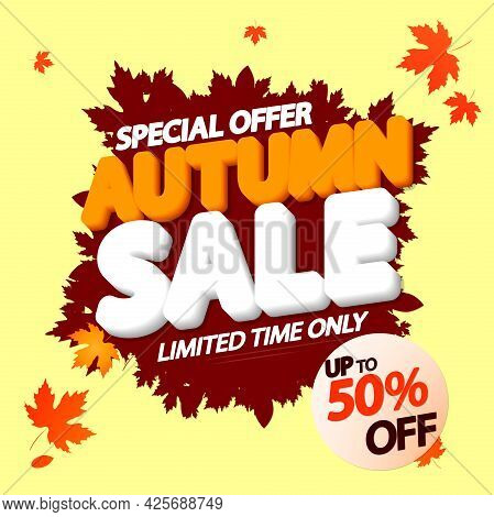 Autumn Sale 50% Off, Poster Design Template, Fall Season Offer. Discount Banner For Online Shop.