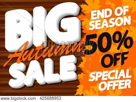 Big Autumn Sale Up To 50% Off, Poster Design Template, Season Best Offer. Fall Discount Banner For O