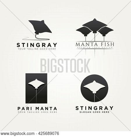 Set Of Stingray Manta Fish Icon Logo Template Vector Illustration Design. Simple Modern Silhouette O