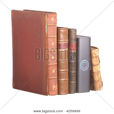 Row Of Old Leather Bound Books And Hard Drive