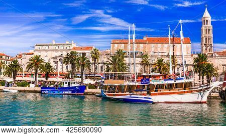 Split downtown and marine with touristic boats. Popular cruise and tourist destination in Dalmatia.Croatia travel and landmarks. 14.09.2019