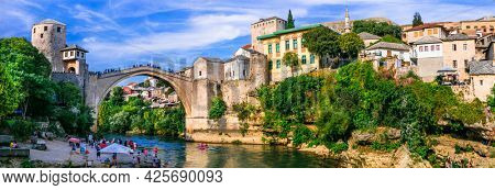 Beautiful iconic old town Mostar with famous bridge in Bosnia and Herzegovina. sept 2019