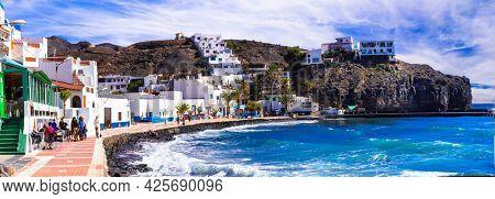 Canary islands. Fuerteventura holidays - scenic coastal village Las Playitas. popular tourist place and resort , jan 2019