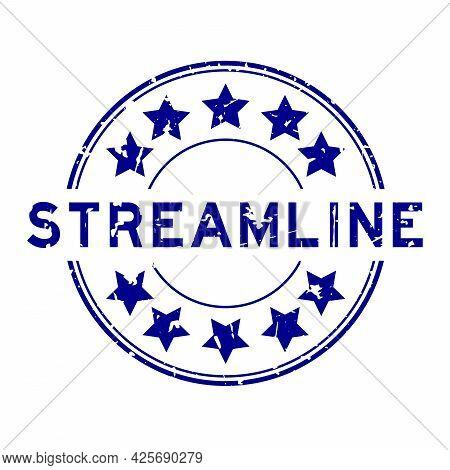 Grunge Blue Streamline Word With Star Icon Round Rubber Seal Stamp On White Background