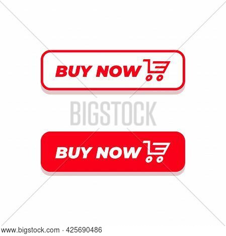 Buy Now Button. Red Buy Now Button With Shopping Cart Icon Template.