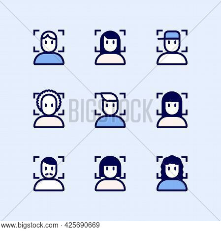 Face Recognition System Id Icons Set. Simple Set Of Face Recognition System Id Vector Icons For Web