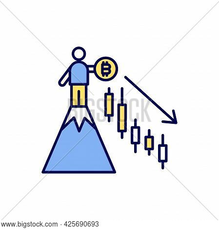 A Man With A Bitcoin Stands On The Top Of The Hill But The Price Chart Goes Down. Cryptocurrency Mar