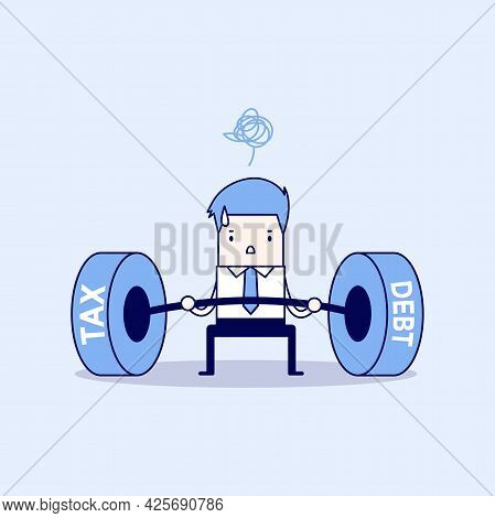 Businessman Lifting Tax And Debt Weights. Cartoon Character Thin Line Style Vector.