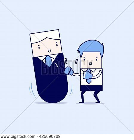 Businessman Punching Manager Tumbler Doll. Cartoon Character Thin Line Style Vector.