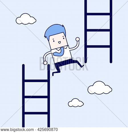 Businessman Jump From Low Stair To High Stair. Cartoon Character Thin Line Style Vector.