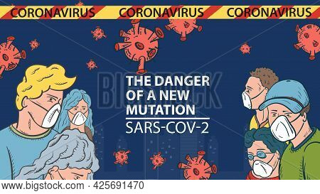 Banner Illustration For The Design Of The New Virus Corona Sars-cov-2, Masked People On The Backgrou