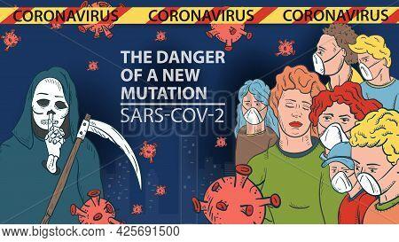 Banner Illustration For Design Design, New Virus Corona Sars-cov-2 Masked People On The Background O