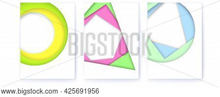 Set Op Covers With Simple Geometric Shapes. Multi Layered Color Abstract Background. Vector 3d Illus