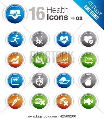 Glossy Buttons - Health and Fitness icons