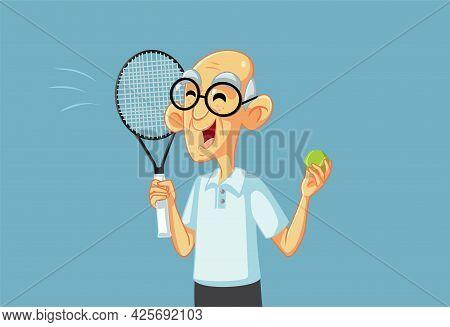 Happy Sporty Grandpa Playing Tennis Holding Racket