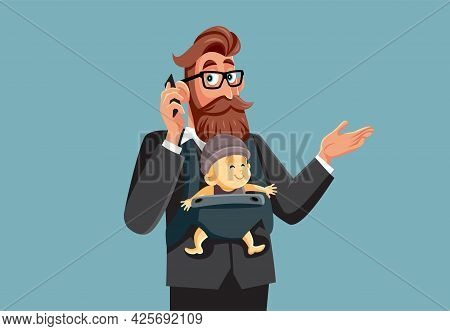 Busy Multitasking Father And Businessman Holding His Baby