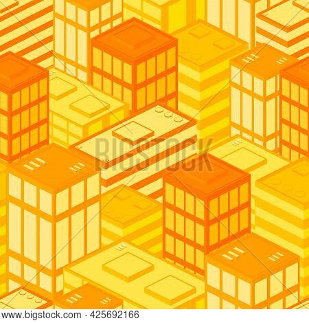 City Seamless Pattern, Graphic Poster Design Template, Urban Background