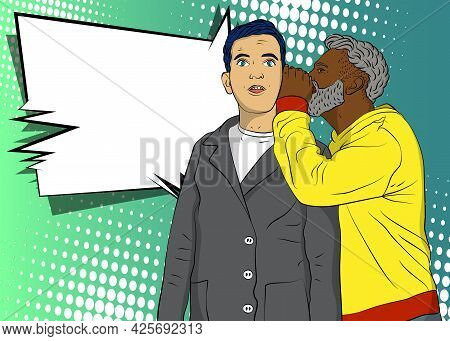 African-american Man Whispering To His Caucasian Coworker, Sharing Secret Gossips Into His Ear. Comi