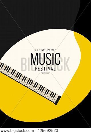 Music Festival Poster Design Template Background With Piano From Top View. Design Element Template F