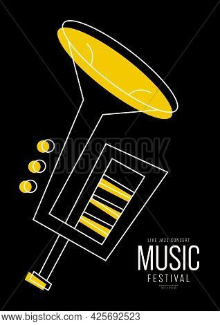 Music Festival Poster Design Template Background With Trumpet Outline. Design Element Template For B