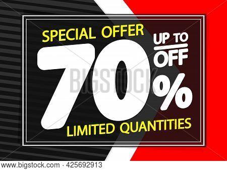 Sale 70% Off, Poster Design Template. Promotion Banner For Shop Or Online Store