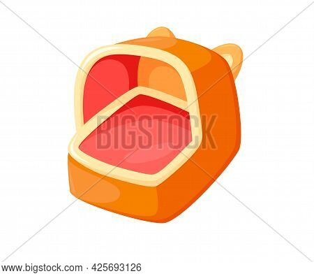 Pet Bed With Soft Pillow. Cozy Animal House For Comfort Sleeping. Vector Illustration In Cute Cartoo