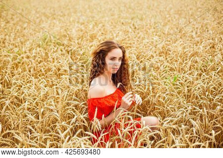 Style Redhead Lady In Red Clothe Tay On Yellow Wheat Nature Caucasian Real Girl. Portrait Of A Beaut