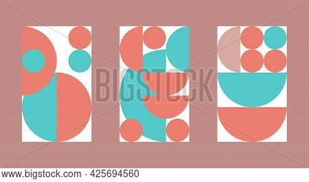 Set Of Patterns In Bauhaus Style For Interior Posters. Swiss Style Background