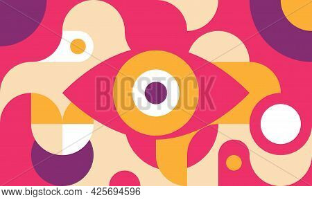 Funky Background In Bauhaus Style With Eye