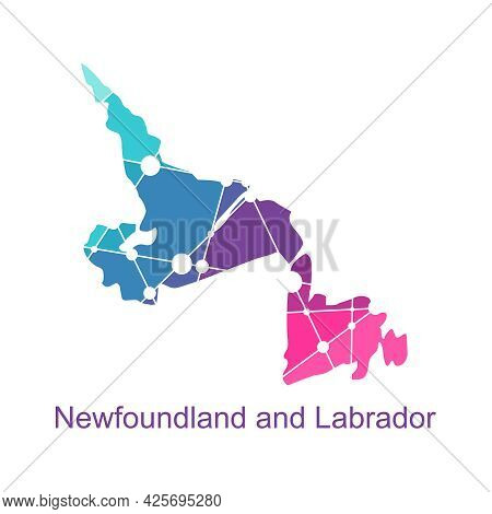 Map Of Newfoundland And Labrador. Concept Of Travel And Geography Of Canada.