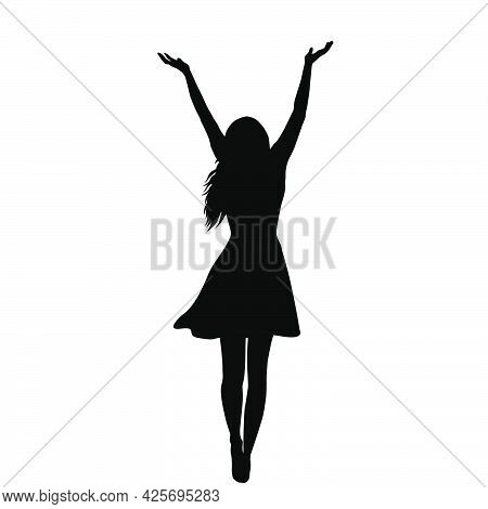 Silhouette Of A Woman With Arms Raised Enjoy The Life