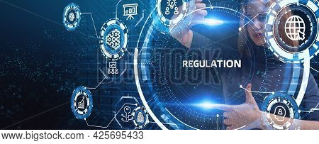 Business, Technology, Internet And Network Concept. Regulation Compliance Rules Law Standard.