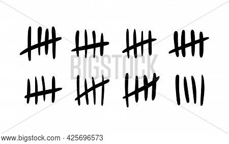 Tally Mark. Lines Or Hand-drawn Sticks Are Sorted By Four And Crossed Out. Simple Mathematical Visua