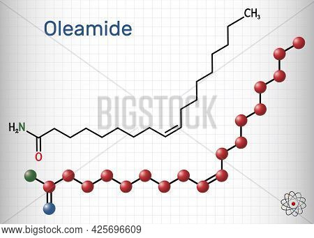 Oleamide Molecule. It Is Fatty Amide Derived From Oleic Acid. Structural Chemical Formula And Molecu