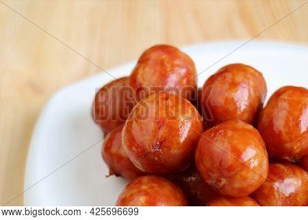 Closeup Pile Of Delectable Northeastern Thai Sausages Called Sai Krok Isan