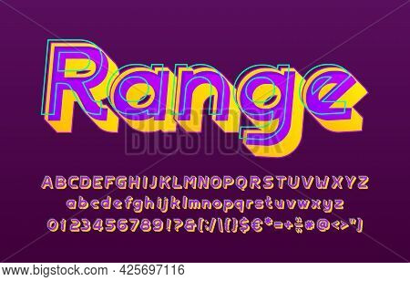 Range Alphabet Font. 3d Effect Letters, Numbers And Punctuations. Uppercase And Lowercase. Retro-fut