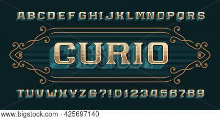 Curio Alphabet Font. Vintage 3d Letters, Numbers And Symbols For Label, Badge Or Emblem Design. Stoc