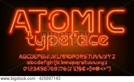Atomic Alphabet Font. Orange Neon Light Letters, Numbers And Punctuation. Uppercase And Lowercase. S